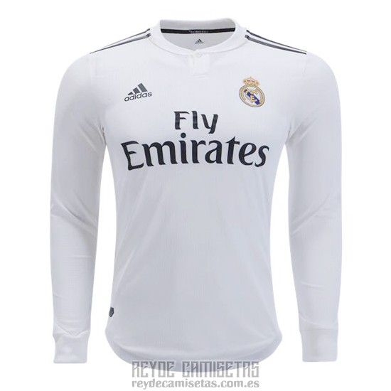 Camiseta De Futbol Real Madrid Primera Manga Larga 2018-2019 caa5464f99fb7
